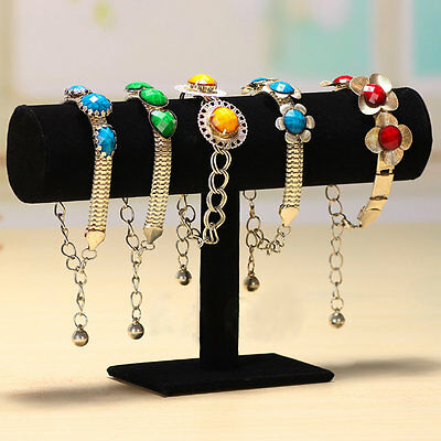 Velvet T-Bar Jewelry Rack Bracelet Necklace Stand Organizer Holder Display DB