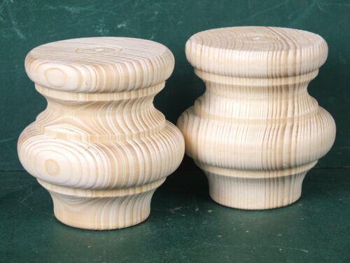 Set 2 Große Möbelfüße Holzfüße Fuß gedrechselt Ersatz Füße für antike Möbel