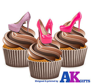 PRECUT-Hot-Pink-Shoes-High-Heels-12-Edible-Cupcake-Toppers-Decorations-Birthday