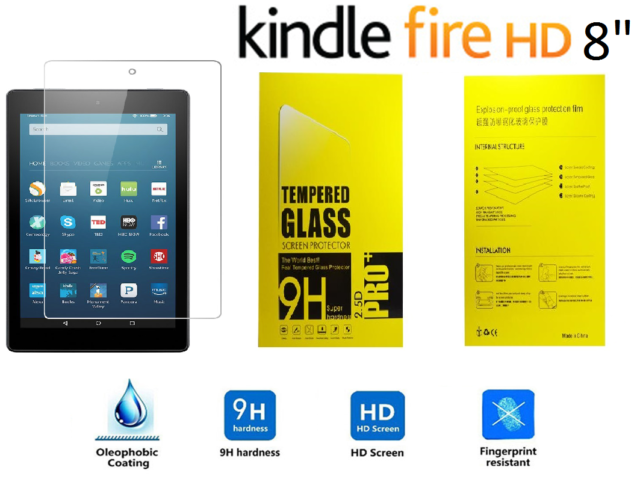 """100% Genuine Tempered Glass Screen Protector For AMAZON KINDLE FIRE HD 8"""" inch"""