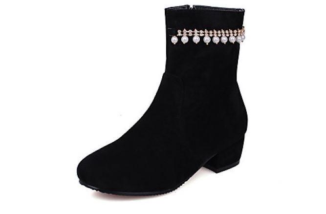 Stiefel Stilett Schuhe Absatz 4 cm Schwarz Perlen Leder Kunststoff 8635