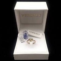 $295 Versace Men's Women's Slim Iconic Gold Medusa Logo Ring Italy Authentic