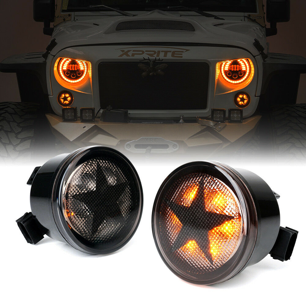 Xprite Smoke Lens LED Turn Signal Light with STAR for 07-18 Jeep Wrangler JK