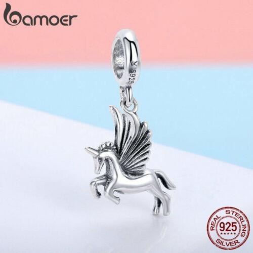 Bamoer S925 Solide Argent Sterling Charmes Fly Cheval Dangle À faire soi-même pour Bracelets