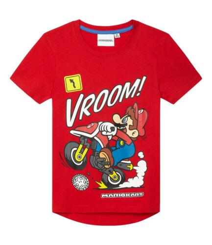 Ragazzi Bambini Ufficiale Super Mario Kart Rosso Manica Corta T Shirt Top