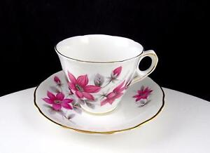 "ROYAL KENT ENGLAND #ROK23 PINK FLOWER AND GREY LEAF 2 3/4"" CUP AND SAUCER SET"