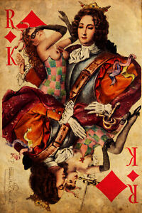 """King of Clubs #1 Canvas Art Poster 16/""""x 24/"""" Playing Card Poster"""