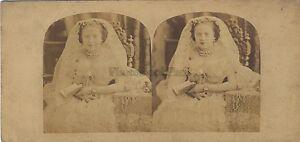 La Lettore Donna Ciondolo Foto Stereo Vintage Albumina Ca 1860