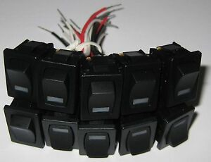 10-X-SPST-Lighted-Snap-In-Rocker-Switch-w-Wires-6-Amp-250VAC-Red-2-VDC-LED
