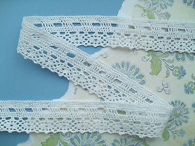 1mt Vintage style cream cotton lace trim with cream or black ribbon 4.5cm