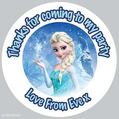 35 x Personalised frozen Elsa 37mm Birthday Stickers Party Thank You Seals- 065
