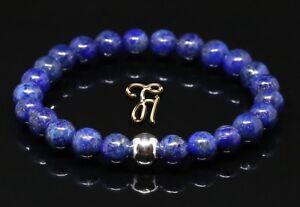 Lapislazuli-925er-sterling-Silber-Armband-Bracelet-Perlenarmband-blau-8mm