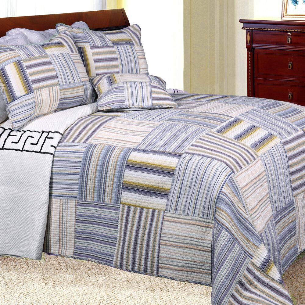 Kevin Striped Patchwork Quilt Set King