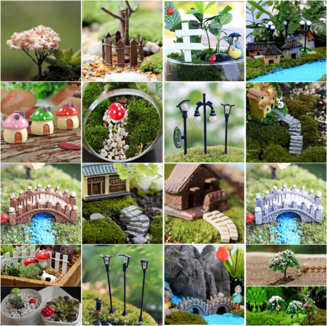 20Pcs Miniature Resin Stone and Trees Fairy Garden Ornaments Plant Pot Decor