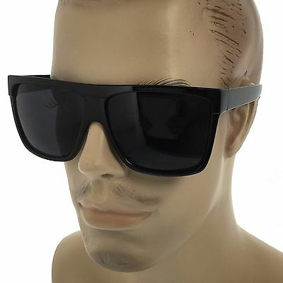 MENS Limo Large Black Flat Top Oversize Gangster Rectangular Shade Sunglasses