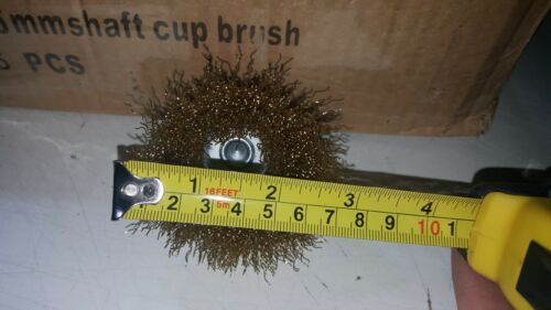 """lot 35 3/"""" Brass Crimped brass coated steel Wire Cup Brush ¼"""" Hex Shank"""