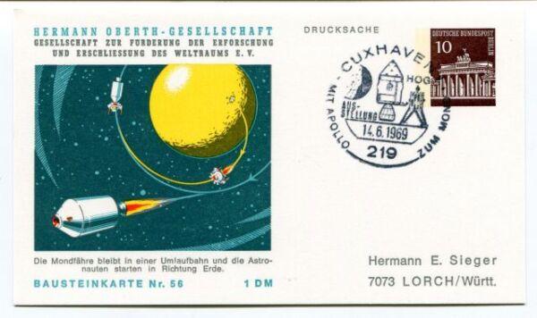 1969 Hermann Oberth Gesellschaft Weltraums Cuxhaven 1 Drucksache Bausteinkarte56