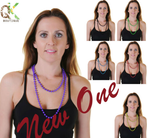 *New* Ladies Womens Black Plastic Bead Necklaces Approx 48 Inches