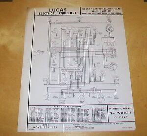 morris oxford saloon cars series ii 1954 55 wiring diagram home rh ebay co uk