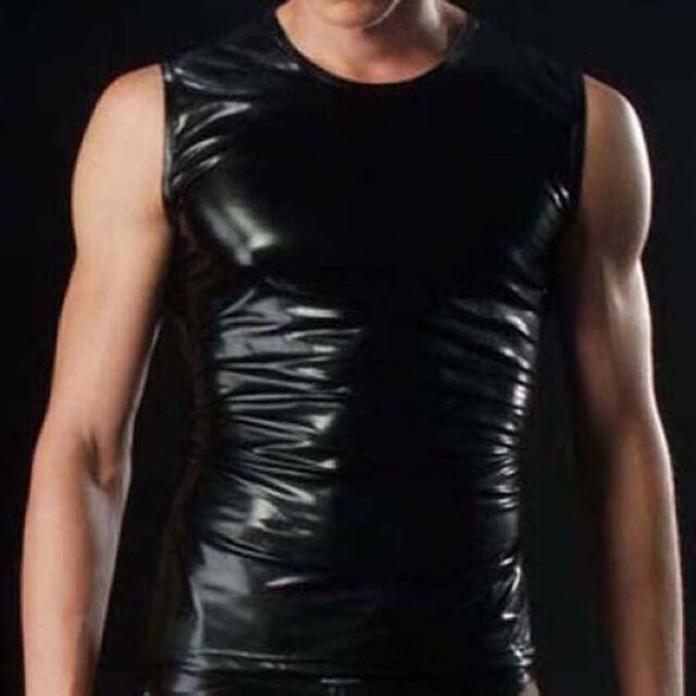 Brand Men's Leather Look Sexy Sleeveless T-Shirt Comfortable Undershirt TOP M-XL