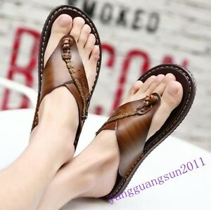 New-Fashion-Mens-Sandals-Summer-Slippers-Flip-Flops-Pu-Leather-Casual-Beach-Cool