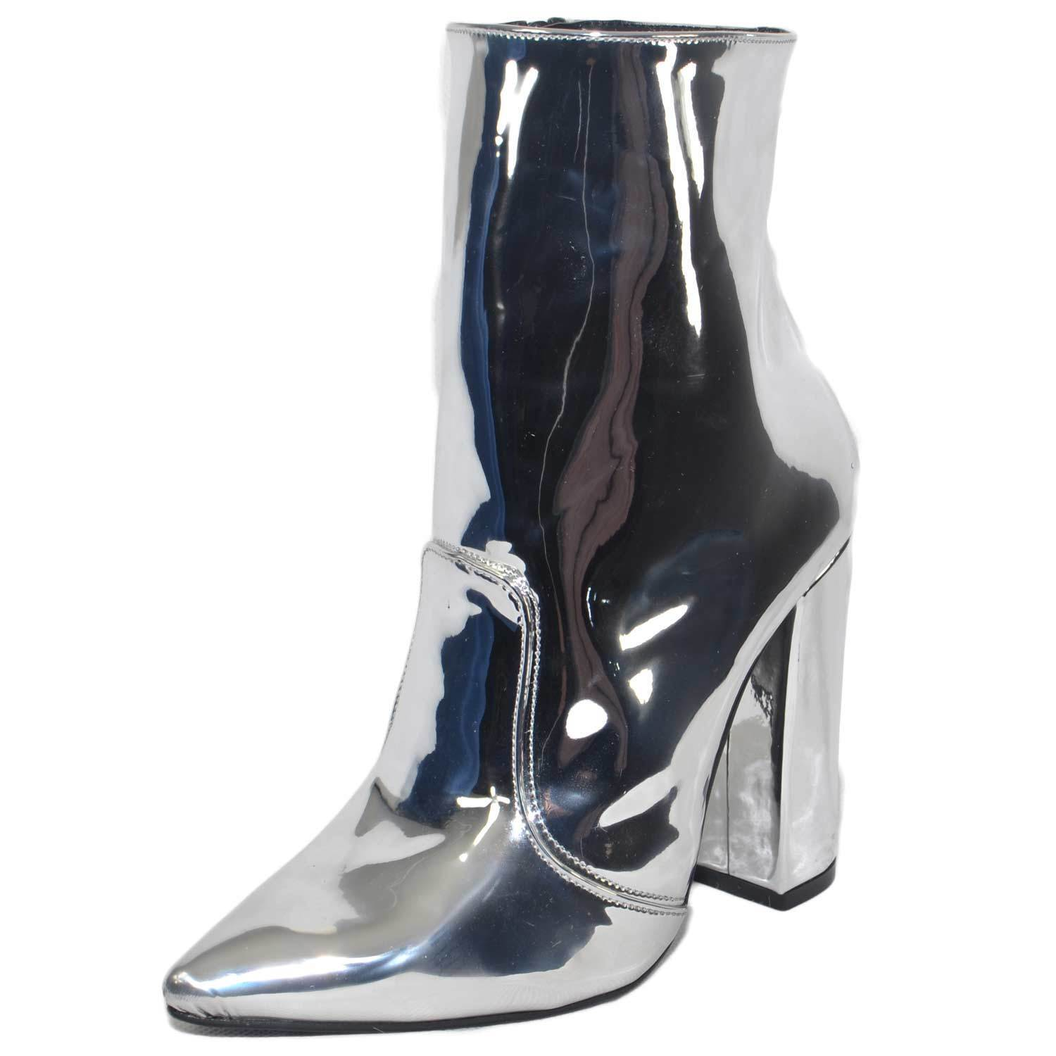 Schuhe Damens TRONCHETTO PUNTA SPECCHIATO ARGENTO MADE IN ITALY GLAMOUR TACC MODA TACC GLAMOUR af2656