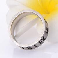 Roman Numerals Mens Jewelry Women Boys Stainless Steel Titanium Ring