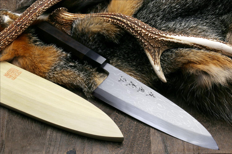 Yoshihiro bleu Steel  1 SUMINAGASHI Deba 7  POISSONS FILET chef couteau ébène Poignée