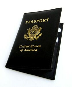 Black-USA-PASSPORT-COVER-Travel-Leather-ID-Credit-Card-Wallet-Document-Holder