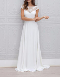 Cap-Sleeve-Lace-Chiffon-Backless-A-Line-Wedding-Dress-Wedding-Gown-US-Size-2-16