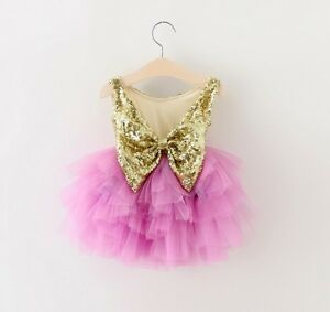 Baby-Girls-Sparkling-Sequin-Bow-Tulle-Dress-Princess-Birthday-Party-Wedding-Gift