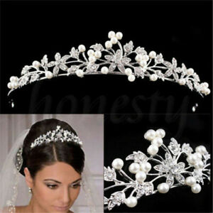 Princess-Bridal-Wedding-Prom-Crystal-Flower-Tiara-Crown-Pearl-Hair-Headband-US