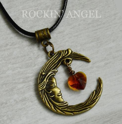 Vintage Bronze Plt Ornate Moon Amber Crystal Heart Pendant Necklace Ladies Gift
