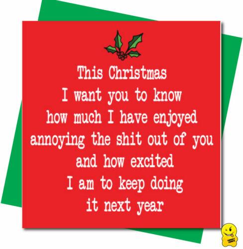 Funny Rude Christmas Card Husand Wife Boyfriend Lover Humour  Annoy XM198