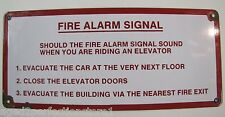 Old Porcelain ELEVATOR FIRE ALARM Signal Sign red white building firefighting ad