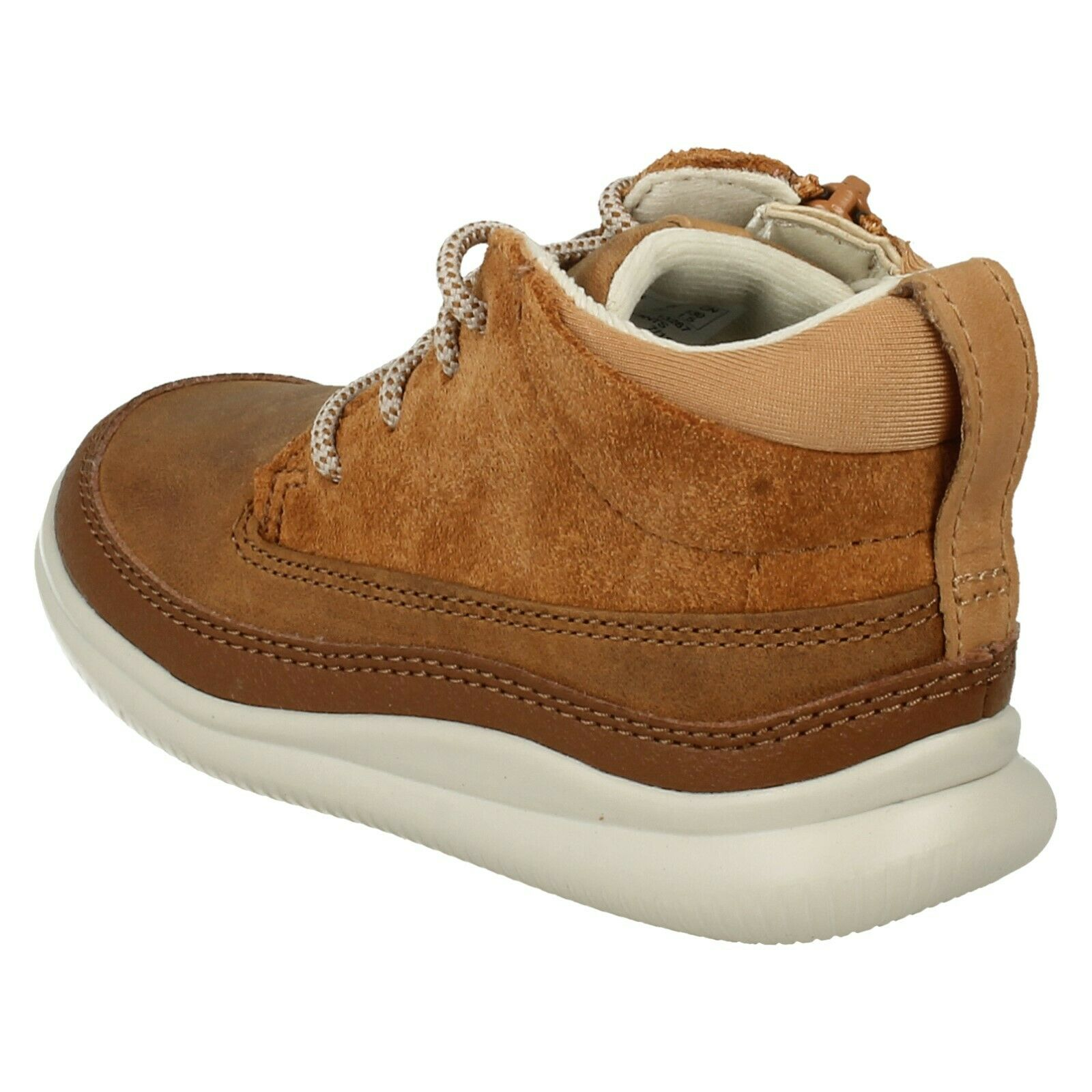 Boys Clarks Dan Hi Gtx Inf//Jnr Tan Leather Casual Lace Up /& Zip Boots