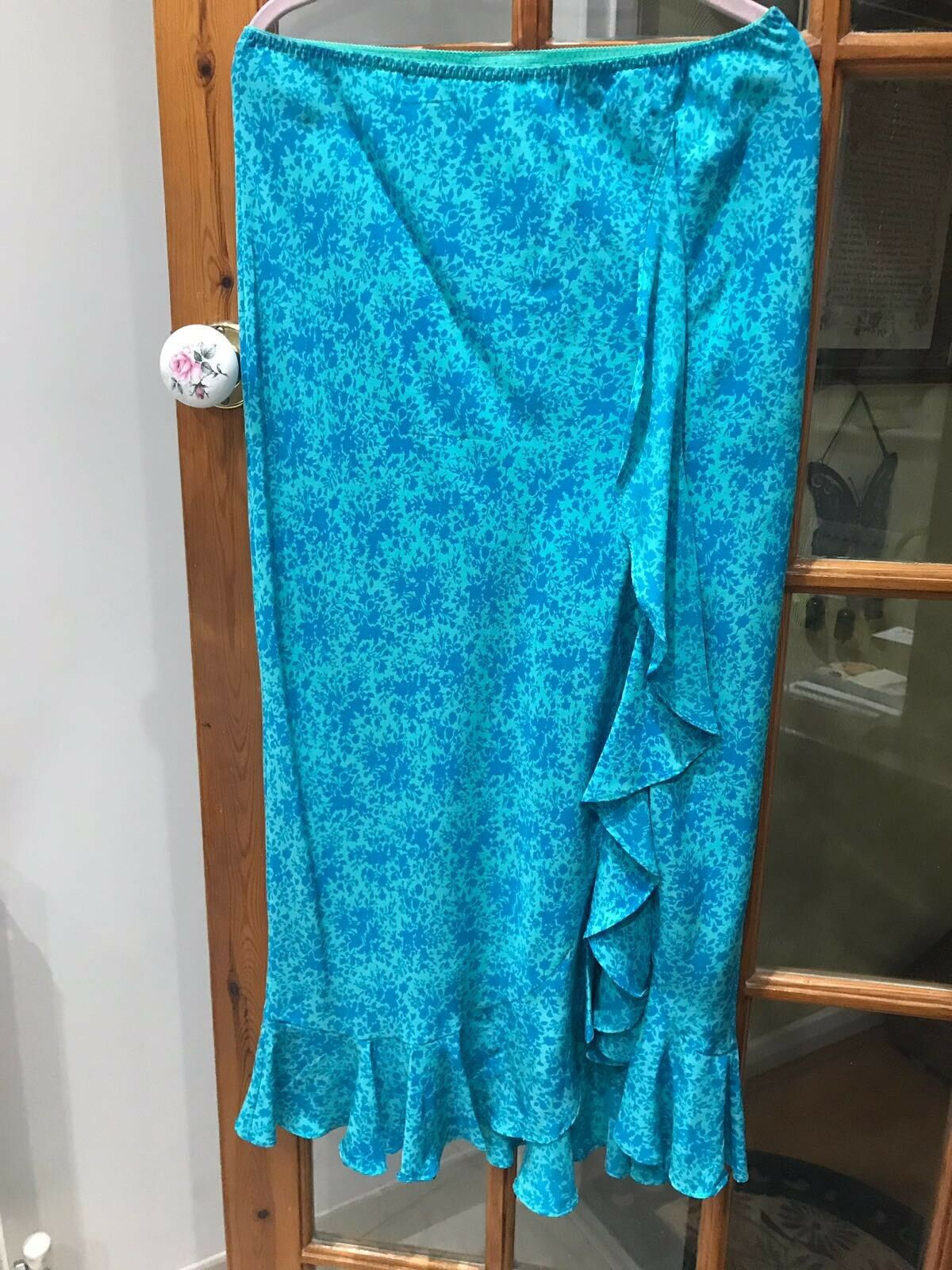 Monsoon Floral Turquoise Waterfall Skirt With Side Slit, Size 12
