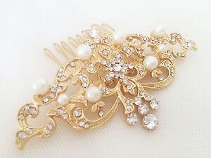Bien éDuqué Zahra Gold Bridal Hair Comb, Paillettes, Strass, Perle, Vintage Slide Victorien-afficher Le Titre D'origine