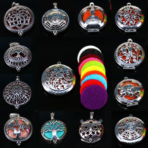 Multi-Style-Alloy-Aromatherapy-Essential-Oil-Diffuser-Locket-Pendant-Necklace