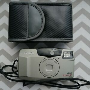 ⭐TESTED⭐  vintage CANON prima zoom 35mm Film Camera point and shoot LOMOgraphy
