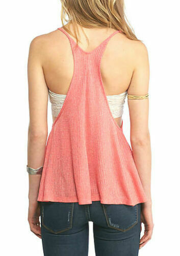 Details about  /Free People Ribbed Tank Top Coral Sleeveless /_/_/_/_/_/_R1A1