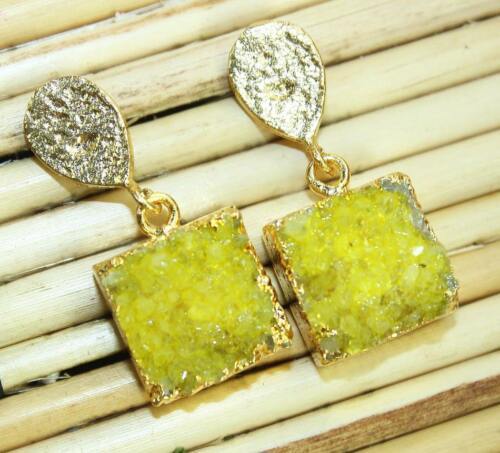 VENTE!! Beautiful Natural Agate Druzy 24k plaqué or boucle d/'oreille Fashion Jewelry