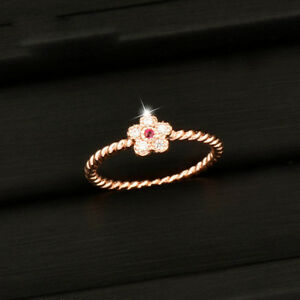 Charm-Cute-Small-Pink-Flower-Ring-For-Women-Girl-Size-6-7-8-9-Rose-White-Gold