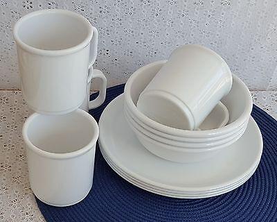 Vintage Rubbermaid 3838 Plates 3836 Bowls 3813 Mugs White 12 Pcs Melamine