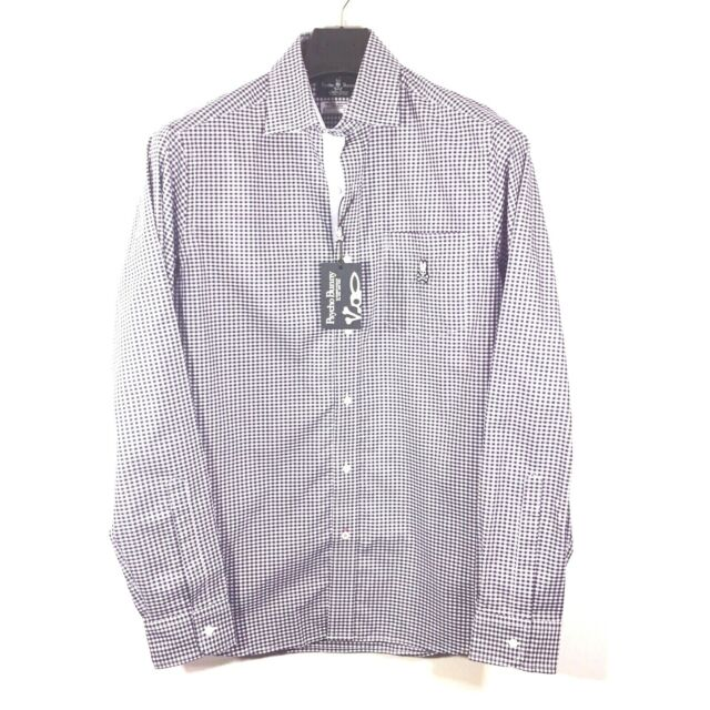 PSYCHO BUNNY Mens Long Sleeve Navy Blue Gingham Button Front Shirt S MSRP $125