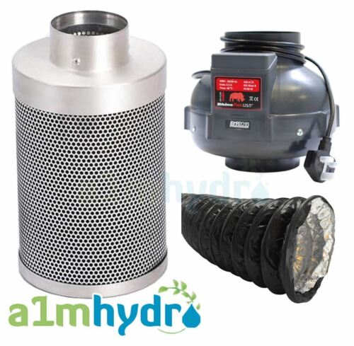 Rhino Pro Carbon Filter Kit 5 Inch 125x300mm Rhino Fan Hydroponics