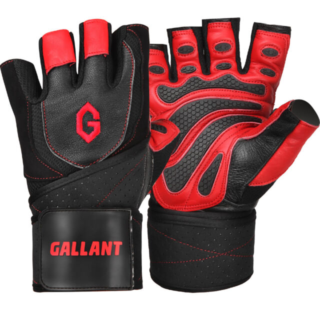 Gallant Weight Lifting Body Building Leather Gym Gloves Training Padded Straps