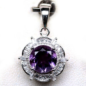 NATURAL-8mm-PURPLE-AMETHYST-amp-WHITE-CZ-STERLING-925-SILVER-PENDANT