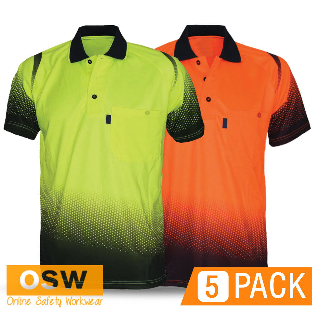 5 X HI VIS WORK COOL BREATHE OCEAN SHORT SLEEVE Orange Gelb POLO hemdS