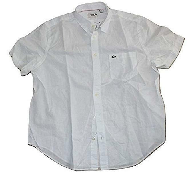 Lacoste Men's Short Sleeve Cotton Linen Solid, White, XLarge NWT Button Front